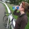 sally practising the official sports drink pose