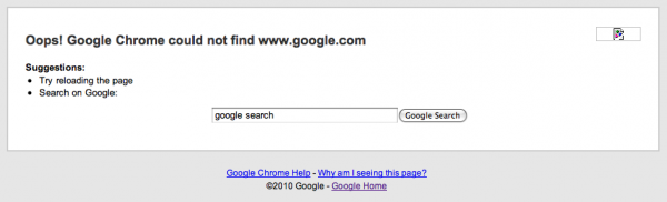if chrome can't find google, then how would I google for google?