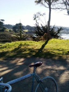 bianchi on a brief pause after a loop around lake merced